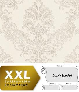 Barock Tapete EDEM 9084-20 heißgeprägte Vliestapete geprägt mit floralen Ornamenten und metallischen Akzenten creme weiß silber 10, 65 m2
