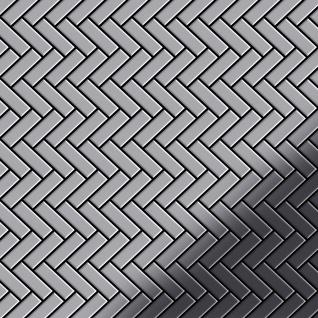 Mosaik Fliese massiv Metall Edelstahl hochglänzend in grau 1, 6mm stark ALLOY Herringbone-S-S-M 0, 85 m2