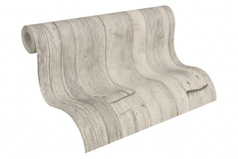 Holz Tapete Profhome 959311-GU Vliestapete glatt in Holzoptik matt grau weiß beige 5, 33 m2 - Vorschau 2