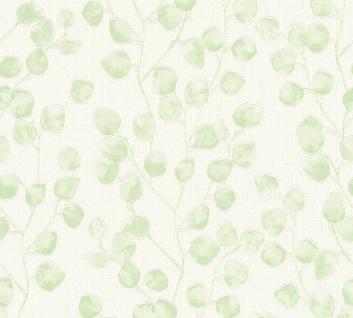 Blumen Tapete Profhome 370051-GU Vliestapete leicht strukturiert mit floralen Ornamenten matt grün weiß 5, 33 m2