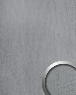 Wandpaneel Metalloptik WallFace 20193 METALLIC USED Silver AR Wandverkleidung glatt im Used Look und mit metallischen Akzenten selbstklebend abriebfest silber hell-grau 2, 6 m2