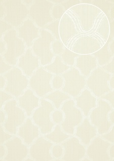 Exklusive Luxus Tapete Atlas PRI-557-1 Vliestapete strukturiert mit Ornamenten glänzend creme perl-weiß creme-weiß rein-weiß 5, 33 m2