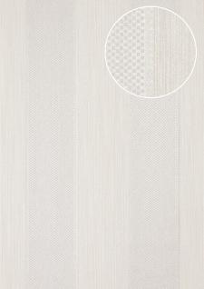Streifen Tapete Atlas PRI-556-7 Vliestapete strukturiert mit geometrischen Formen glitzernd silber weiß-aluminium licht-grau seiden-grau 5, 33 m2