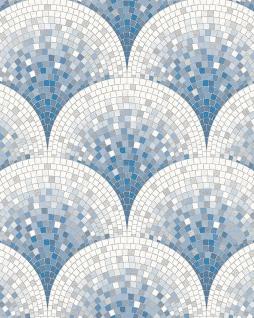 Stein Kacheln Tapete Profhome BA220046-DI heißgeprägte Vliestapete geprägt mit Mosaik Muster glänzend blau weiß tauben-blau 5, 33 m2