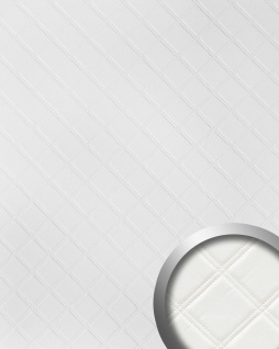 Wandpaneel Karo Leder 3D Luxus WallFace 15042 ROMBO Blickfang Dekor selbstklebende Tapete Wandverkleidung weiß | 2, 60 qm