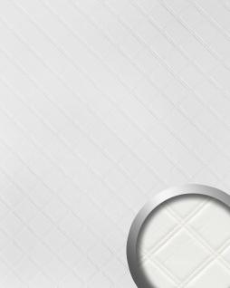 Wandpaneel Karo Leder 3D WallFace 15042 ROMBO Blickfang Dekor selbstklebende Tapete Wandverkleidung weiß 2, 60 qm