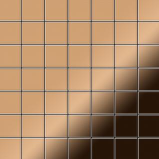 Mosaik Fliese massiv Metall Titan hochglänzend in kupfer 1, 6mm stark ALLOY Attica-Ti-AM 0, 85 m2
