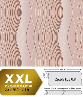 Retro Tapete Vliestapete EDEM 693-94 XXL Retrotapete Design 70er Tapete Linien im Retro-Stil kakao-braun beige weiß silber 10, 65 qm