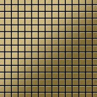Mosaik Fliese massiv Metall Titan gebürstet in gold 1, 6mm stark ALLOY Mosaic-Ti-GB 1, 04 m2
