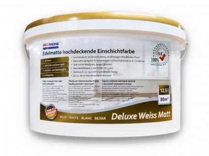 Wandfarbe PROFHOME Deluxe Weiss Matt Innenfarbe edelmatte hochdeckene Einschichtfarbe 12, 5 L 80 qm