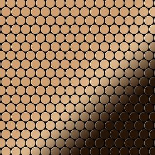 Mosaik Fliese massiv Metall Titan hochglänzend in kupfer 1, 6mm stark ALLOY Penny-Ti-AM 0, 88 m2