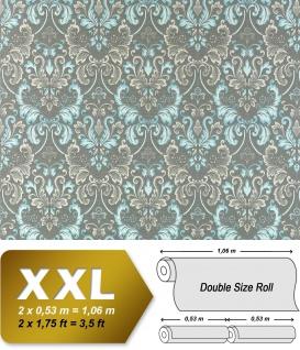Vliestapete Barock-Tapete XXL EDEM 966-27 Muster Ornament klassisch grau türkis | 10, 65 qm