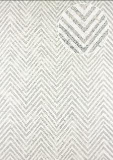 Streifen Tapete Atlas 24C-5055-4 Vliestapete strukturiert mit Chevron Muster und metallischen Akzenten weiß silber grau 7, 035 m2