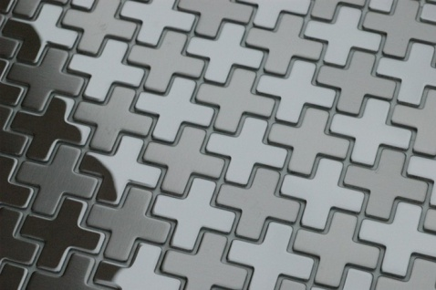 Mosaik Fliese massiv Metall Edelstahl gebürstet in grau 1, 6mm stark ALLOY Swiss Cross-S-S-B 0, 88 m2 - Vorschau 4