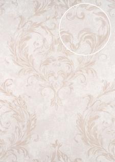 Barock Tapete ATLAS CLA-603-7 Vliestapete geprägt mit Ornamenten glänzend silber perl-weiß perl-beige beige-grau 5, 33 m2