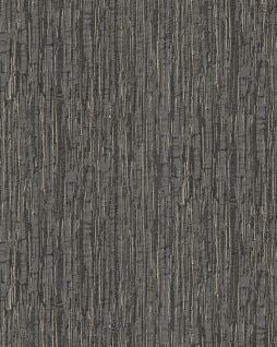 Streifen Tapete Profhome DE120088-DI heißgeprägte Vliestapete geprägt mit Streifen glänzend anthrazit perl-beige 5, 33 m2