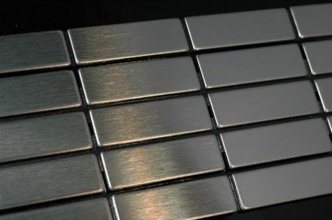 Mosaik Fliese massiv Metall Edelstahl gebürstet in grau 1, 6mm stark ALLOY Cabin-S-S-B 1, 01 m2 - Vorschau 4