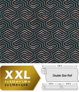 Grafik Tapete EDEM 84114BR95 Vliestapete leicht strukturiert mit Ornamenten und metallischen Akzenten anthrazit umbra-grau perl-opal-grün silber 10, 65 m2