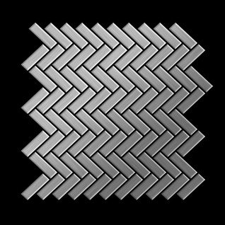 Mosaik Fliese massiv Metall Edelstahl gebürstet in grau 1, 6mm stark ALLOY Herringbone-S-S-B 0, 85 m2 - Vorschau 3
