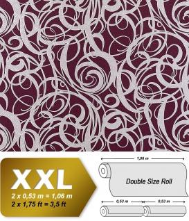 3D Vliestapete Grafiktapete XXL EDEM 971-35 Design Linien abstraktes Wirbelmuster rot-violett silber 10, 65 qm