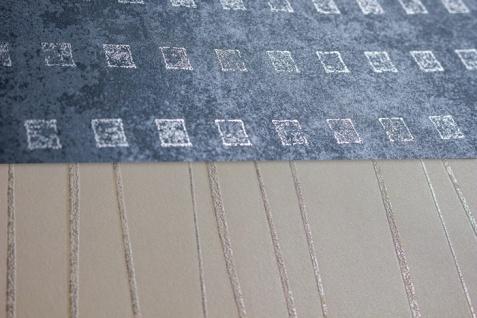 Grafik Tapete Atlas ICO-1705-4 Vliestapete glatt mit abstraktem Muster schimmernd grau tauben-blau silber 5, 33 m2 - Vorschau 3