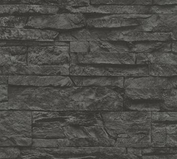 Stein Kacheln Tapete Profhome 707123-GU Vliestapete leicht strukturiert in Steinoptik matt grau schwarz 5, 33 m2