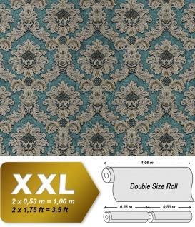 Barock Tapete EDEM 81206BR48 heißgeprägte Vliestapete mit Ornamenten schimmernd türkis blau-grün gold silber 10, 65 m2