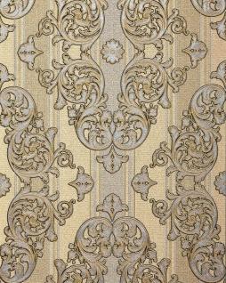 Barock-Tapete EDEM 580-31 Hochwertige geprägte Tapete in Textiloptik und Metallic Effekt safran-gelb perl-gold silber 5, 33 m2