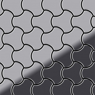 Mosaik Fliese massiv Metall Edelstahl hochglänzend in grau 1, 6mm stark ALLOY Ubiquity-S-S-M Designed by Karim Rashid 0, 75 m2