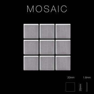 Mosaik Fliese massiv Metall Edelstahl gebürstet in grau 1, 6mm stark ALLOY Mosaic-S-S-B 1, 04 m2 - Vorschau 2