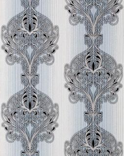 3D Barock Tapete EDEM 096-26 Tapete Damask prunkvolle Ornament-Designs blau hellblau grau weiß silber schwarz | 5, 33 qm