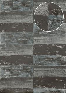 Stein-Kacheln Tapete Atlas ICO-5072-3 Vliestapete glatt mit Natur-Mustern schimmernd grau silber feh-grau 7, 035 m2