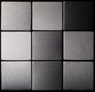 Mosaik Fliese massiv Metall Edelstahl gebürstet in grau 1, 6mm stark ALLOY Attica-S-S-B 0, 85 m2 - Vorschau 4
