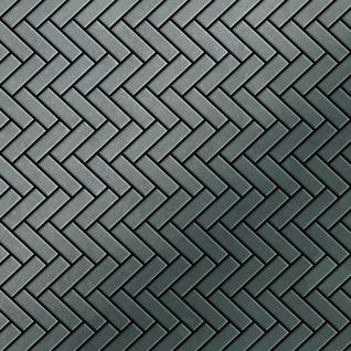 Mosaik Fliese massiv Metall Rohstahl gewalzt in grau 1, 6mm stark ALLOY Herringbone-RS 0, 85 m2