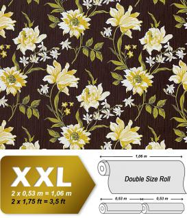 Blumen Tapete Vliestapete Landhaus Tapete EDEM 900-16 Designer hochwertige Textiloptik braun gelbgrün weiß oliv 10, 65 qm