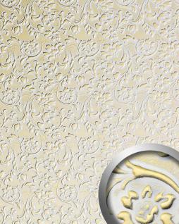 3D Wandpaneel WallFace 13415 FLORAL Luxus Leder Dekor Barock Blumen selbstklebende Tapete Verkleidung weiß gold   2, 60 qm