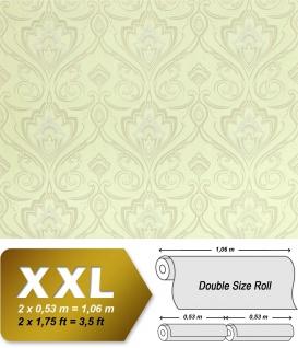 Barock Tapete XXL Vliestapete EDEM 993-31 Elegantes Damastmuster hochwertige Luxus Tapeteweiß creme silber glitzer 10, 65 m2