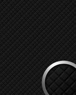 Wandpaneel Leder Design Karo Muster WallFace 15029 ROMBO Wandplatte Wandverkleidung selbstklebend schwarz | 2, 60 qm