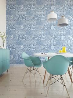 Barock Tapete Profhome VD219149-DI heißgeprägte Vliestapete geprägt im Barock-Stil glänzend blau weiß 5, 33 m2 - Vorschau 2