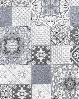 Küchen Bad Tapete EDEM 87001BR10 Vinyltapete leicht strukturiert mit Kachelmuster und metallischen Akzenten grau anthrazit weiß silber 5, 33 m2