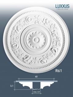 Deckenrosette Stuck Orac Decor R61 LUXXUS Rosette Stuck Zierrosette Wand Dekor Element stoßfest | 40 cm Durchmesser