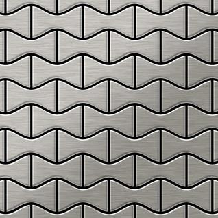 Mosaik Fliese massiv Metall Edelstahl gebürstet in grau 1, 6mm stark ALLOY Kismet-S-S-B Designed by Karim Rashid 0, 86 m2