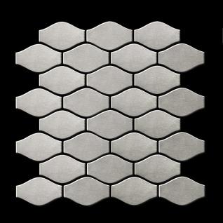 Mosaik Fliese massiv Metall Edelstahl marine gebürstet in grau 1, 6mm stark ALLOY Karma-S-S-MB Designed by Karim Rashid 0, 86 m2 - Vorschau 3
