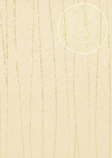 Streifen Tapete Atlas COL-566-4 Vliestapete glatt Design schimmernd creme hell-elfenbein achat-grau 5, 33 m2