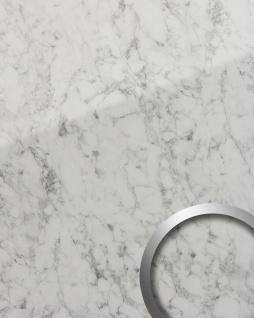 Wandpaneel Marmor Optik WallFace 19345 MARBLE WHITE Dekorpaneel glatt in Naturstein Optik glänzend selbstklebend abriebfest weiß grau-weiß 2, 6 m2