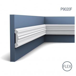 Rahmen Dekor Profil Orac Decor P9020F LUXXUS flexible Wand Leiste Stuckprofil Friesleiste FLEX Leiste stoßfest | 2 Meter