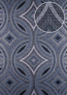 Grafik Tapete ATLAS HER-5135-2 Vliestapete geprägt im Kaleidoskop-Stil schimmernd anthrazit grau-blau silber 7, 035 m2
