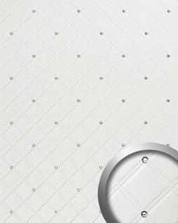 Wandpaneel Leder Design Glas Kristallen Dekor WallFace 15044 CRISTAL ROMBO Wandplatte selbstklebend weiß | 2, 60 qm