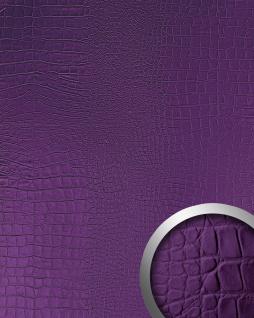 Wandpaneel 3D Leder Blickfang WallFace 16415 CROCO NOVA Dekor Verkleidung selbstklebende Tapete violett 2, 60 qm