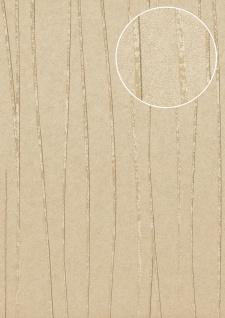 Streifen Tapete Atlas COL-570-4 Vliestapete glatt Design schimmernd beige grau-beige gold 5, 33 m2